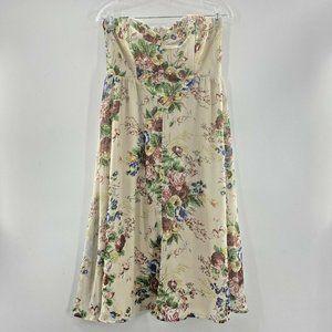 ASOS 8 Wiggle Hem Bandeau Dress Strapless Floral